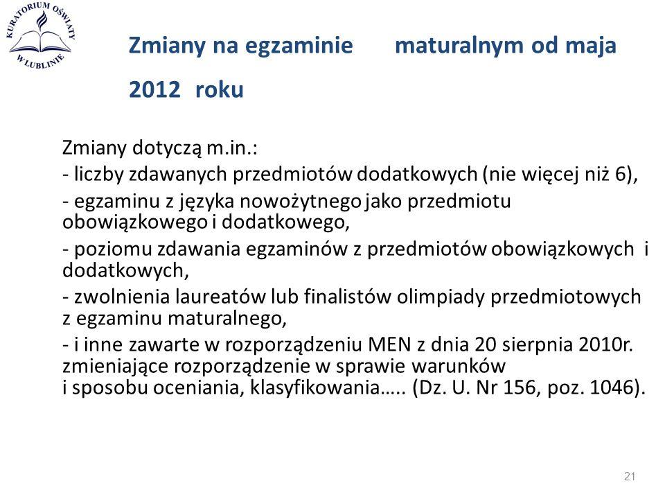 Zmiany na egzaminie maturalnym od maja 2012 roku Zmiany dotyczą m.in.: - liczby zdawanych przedmiotów dodatkowych (nie więcej niż 6), - egzaminu z jęz