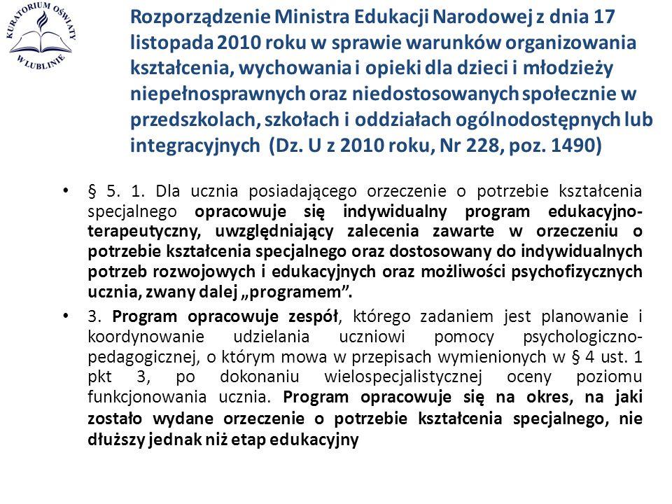Rozporządzenie Ministra Edukacji Narodowej z dnia 17 listopada 2010 roku w sprawie warunków organizowania kształcenia, wychowania i opieki dla dzieci
