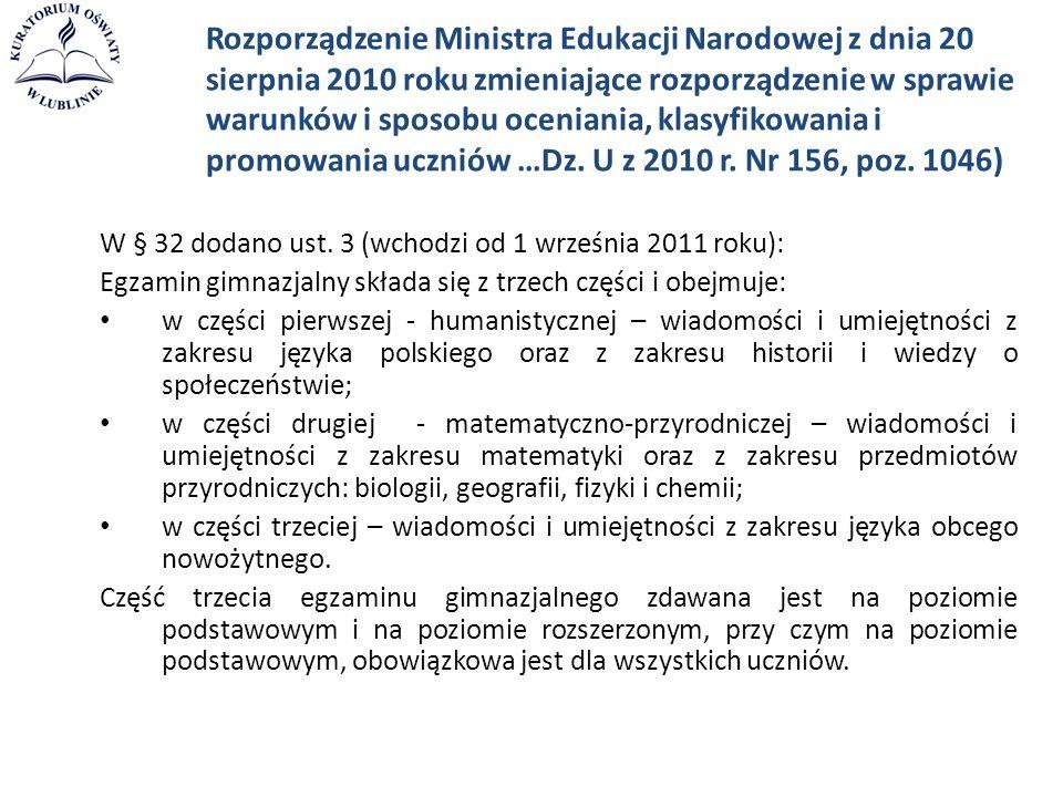 Rozporządzenie Ministra Edukacji Narodowej z dnia 20 sierpnia 2010 roku zmieniające rozporządzenie w sprawie warunków i sposobu oceniania, klasyfikowa