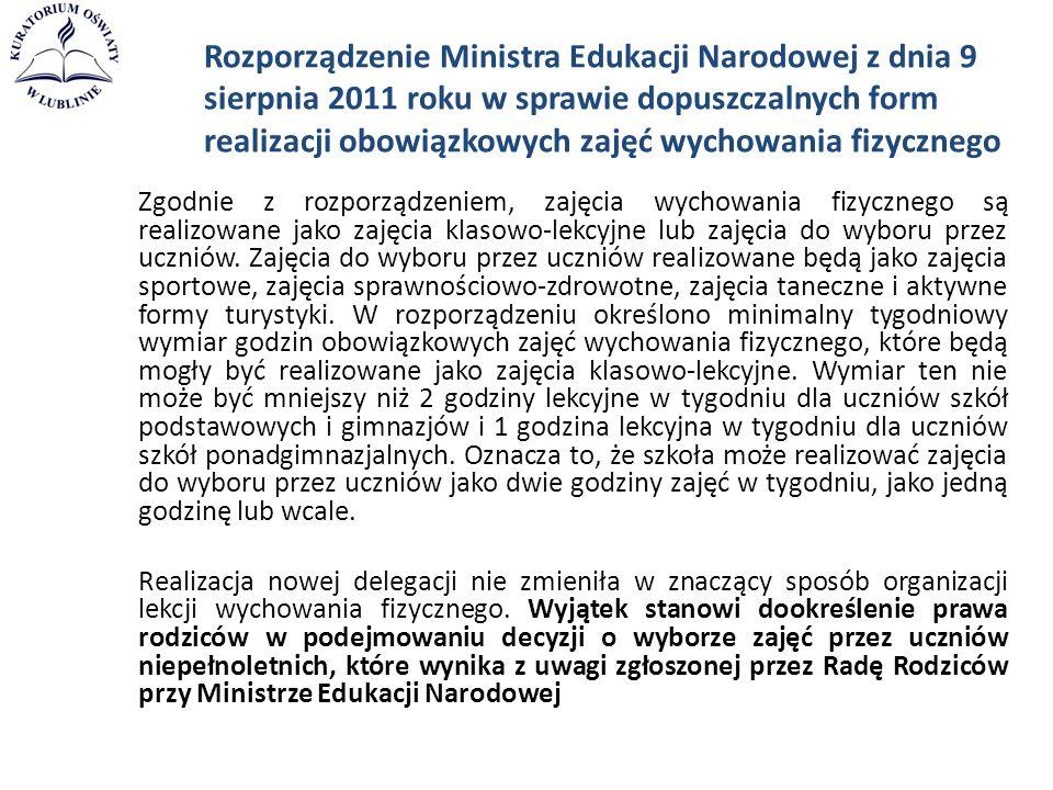 Rozporządzenie Ministra Edukacji Narodowej z dnia 9 sierpnia 2011 roku w sprawie dopuszczalnych form realizacji obowiązkowych zajęć wychowania fizyczn
