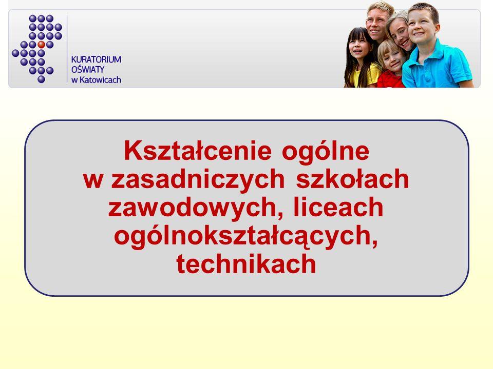 Kształcenie ogólne w zasadniczych szkołach zawodowych, liceach ogólnokształcących, technikach