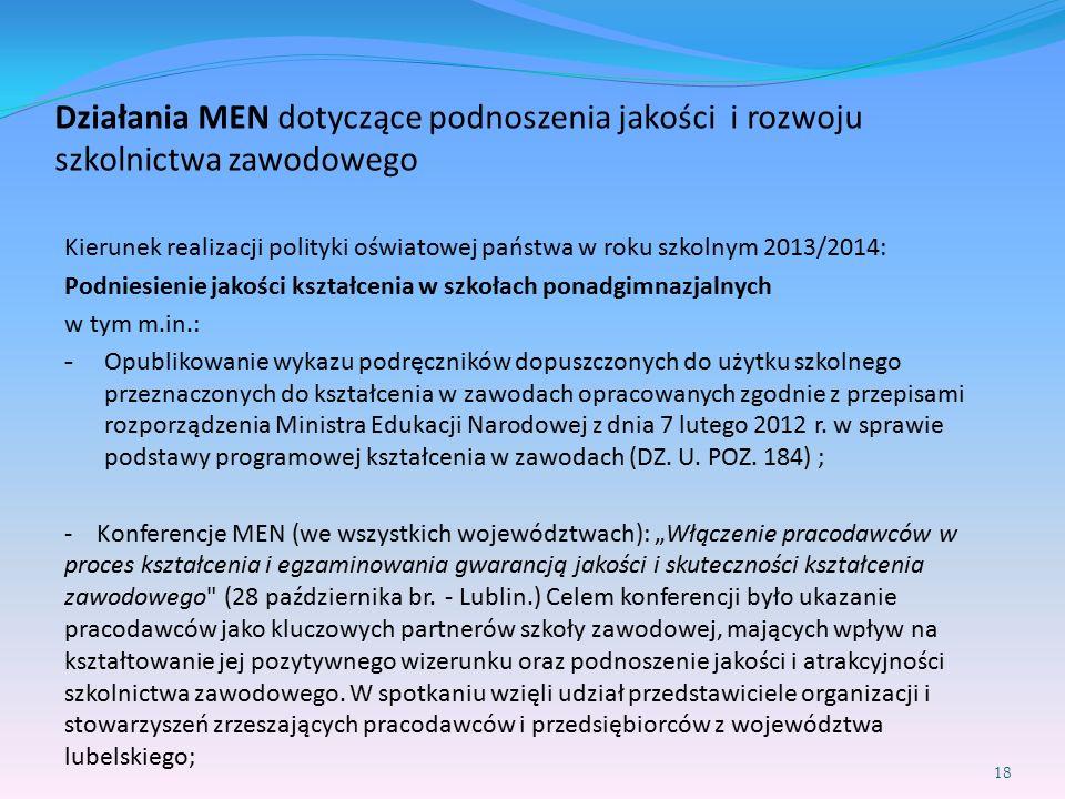 Działania MEN dotyczące podnoszenia jakości i rozwoju szkolnictwa zawodowego Kierunek realizacji polityki oświatowej państwa w roku szkolnym 2013/2014