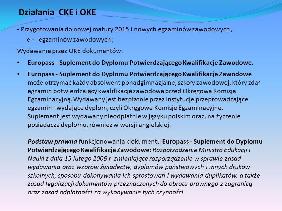 Działania CKE i OKE - Przygotowania do nowej matury 2015 i nowych egzaminów zawodowych, e - egzaminów zawodowych ; Wydawanie przez OKE dokumentów: Europass - Suplement do Dyplomu Potwierdzającego Kwalifikacje Zawodowe.