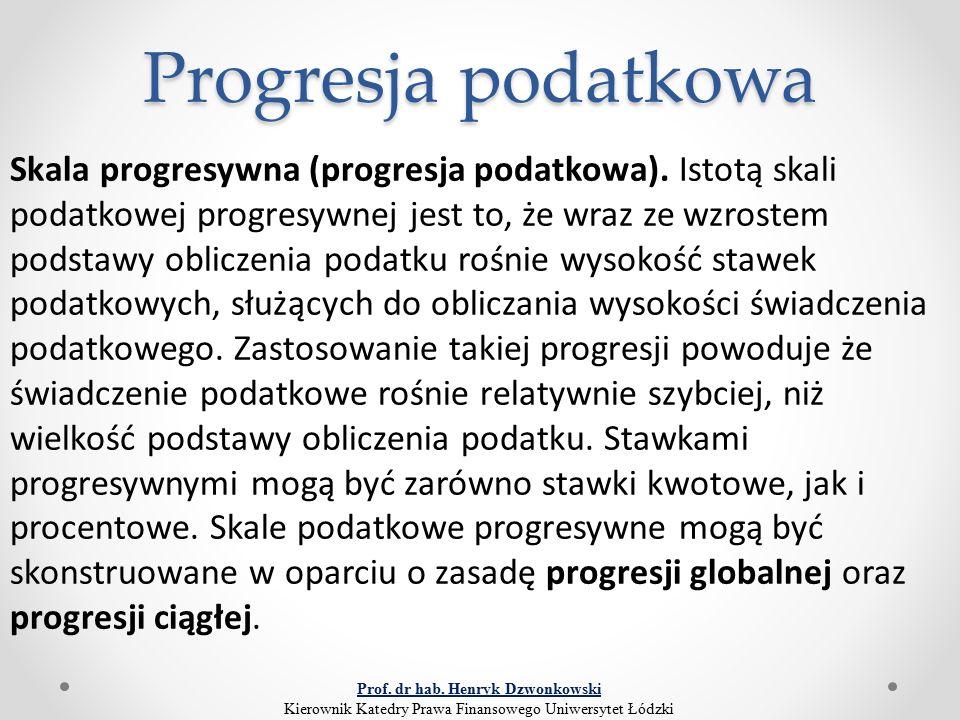Progresja podatkowa Skala progresywna (progresja podatkowa). Istotą skali podatkowej progresywnej jest to, że wraz ze wzrostem podstawy obliczenia pod