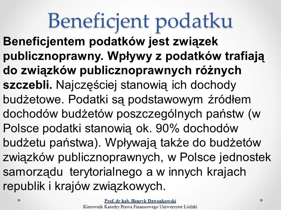 Beneficjent podatku Beneficjentem podatków jest związek publicznoprawny. Wpływy z podatków trafiają do związków publicznoprawnych różnych szczebli. Na