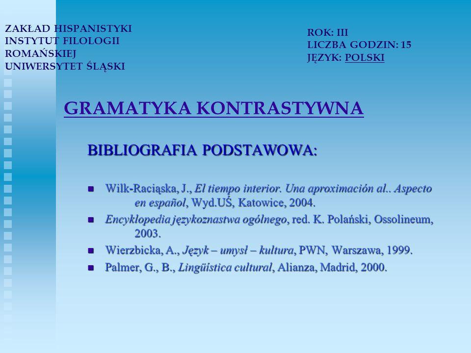 GRAMATYKA KONTRASTYWNA BIBLIOGRAFIA PODSTAWOWA: Wilk-Raciąska, J., El tiempo interior.