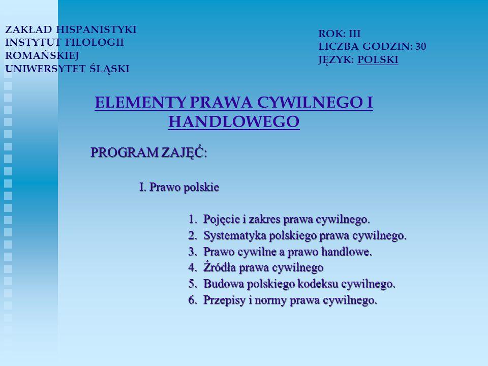 ELEMENTY PRAWA CYWILNEGO I HANDLOWEGO PROGRAM ZAJĘĆ: I.