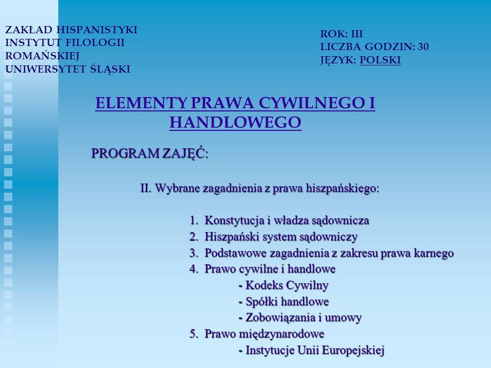 ELEMENTY PRAWA CYWILNEGO I HANDLOWEGO PROGRAM ZAJĘĆ: II.