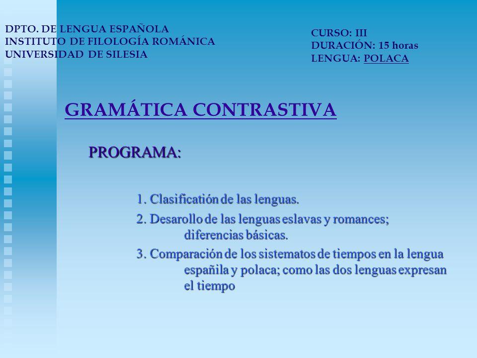 GRAMÁTICA CONTRASTIVA PROGRAMA: 1. Clasificatión de las lenguas.