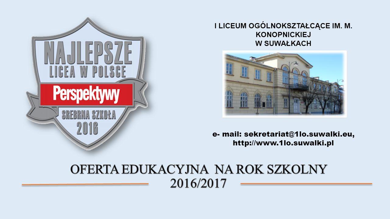 e- mail: sekretariat@1lo.suwalki.eu, http://www.1lo.suwalki.pl I LICEUM OGÓLNOKSZTAŁCĄCE IM.