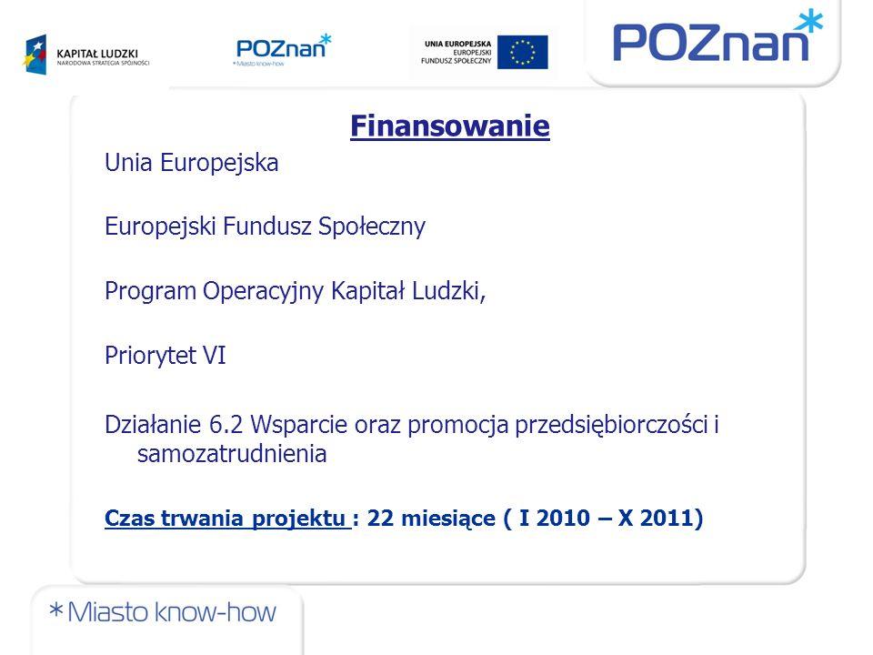 Finansowanie Unia Europejska Europejski Fundusz Społeczny Program Operacyjny Kapitał Ludzki, Priorytet VI Działanie 6.2 Wsparcie oraz promocja przedsiębiorczości i samozatrudnienia Czas trwania projektu : 22 miesiące ( I 2010 – X 2011)
