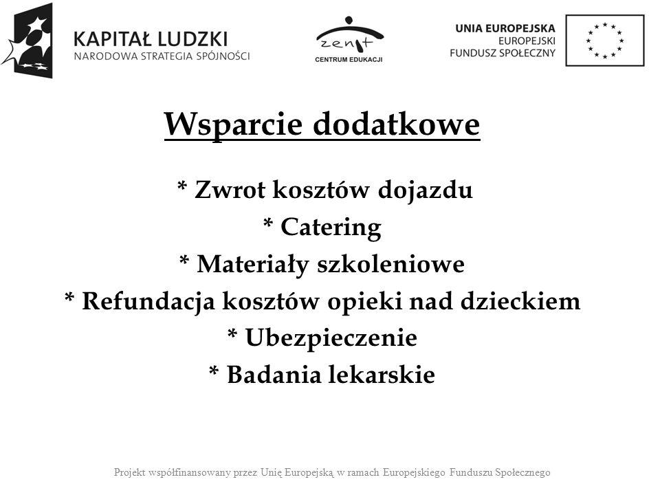 Wsparcie dodatkowe * Stypendium szkoleniowe 6,59 zł / godz.