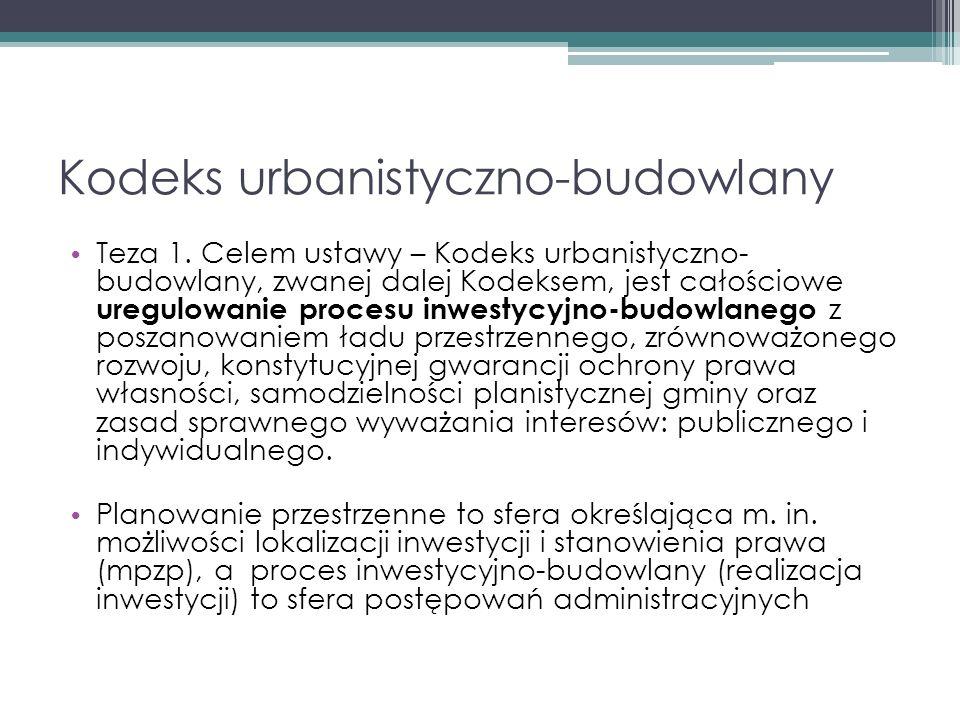 Kodeks urbanistyczno-budowlany Teza 1.