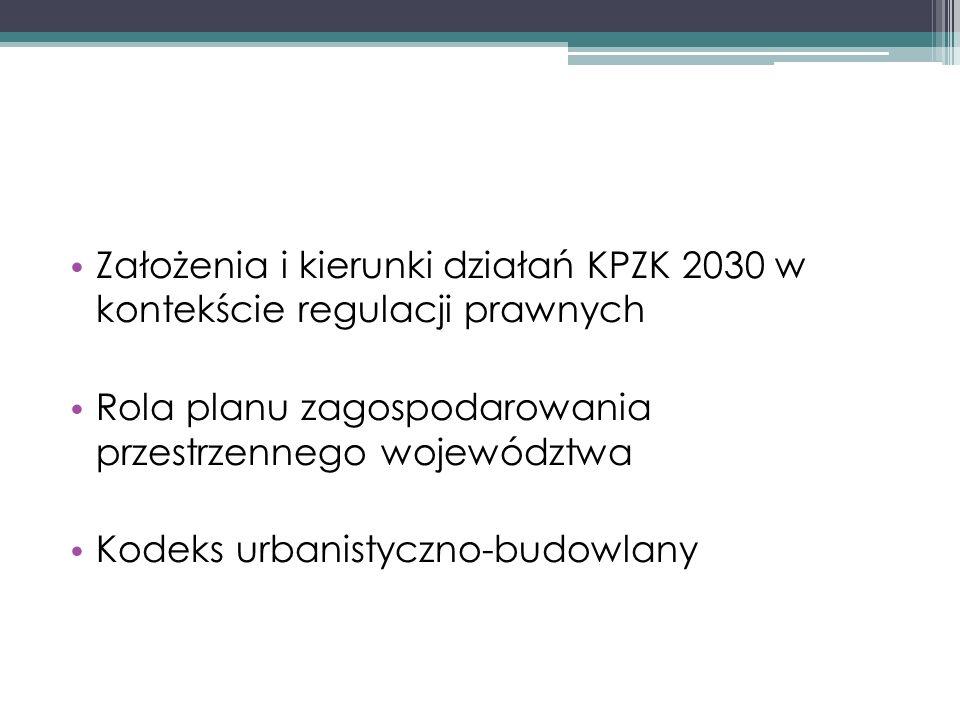 Założenia KPZK 2030 przeorganizowanie systemu i wprowadzenie rozwiązań prawnych i instytucjonalnych pozwalających na budowę spójnego, hierarchicznego układu planowania i zarządzania przestrzennego zwiększenie roli koordynacyjnej polityki przestrzennej w stosunku do polityk sektorowych