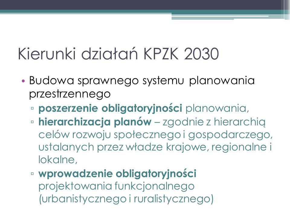 Kierunki działań KPZK 2030 Budowa sprawnego systemu planowania przestrzennego ▫ poszerzenie obligatoryjności planowania, ▫ hierarchizacja planów – zgodnie z hierarchią celów rozwoju społecznego i gospodarczego, ustalanych przez władze krajowe, regionalne i lokalne, ▫ wprowadzenie obligatoryjności projektowania funkcjonalnego (urbanistycznego i ruralistycznego)