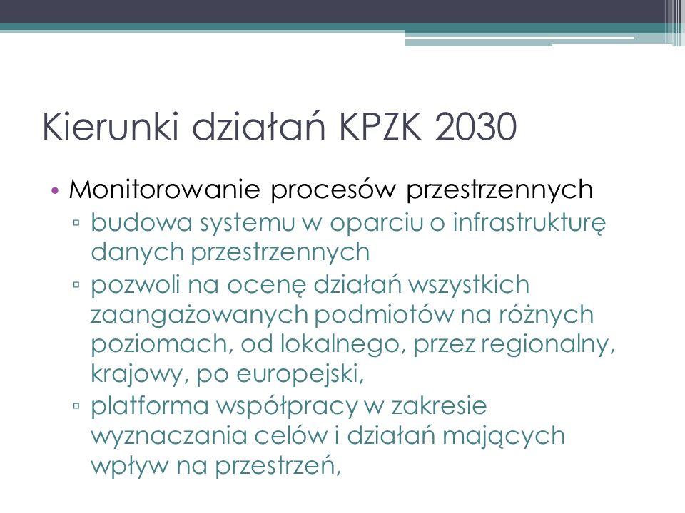 Kierunki działań KPZK 2030 Monitorowanie procesów przestrzennych ▫ budowa systemu w oparciu o infrastrukturę danych przestrzennych ▫ pozwoli na ocenę działań wszystkich zaangażowanych podmiotów na różnych poziomach, od lokalnego, przez regionalny, krajowy, po europejski, ▫ platforma współpracy w zakresie wyznaczania celów i działań mających wpływ na przestrzeń,