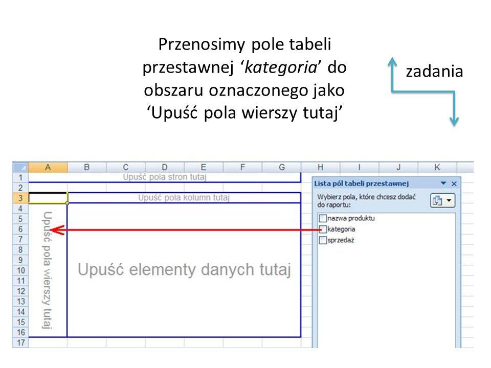 Przenosimy pole tabeli przestawnej 'kategoria' do obszaru oznaczonego jako 'Upuść pola wierszy tutaj' zadania