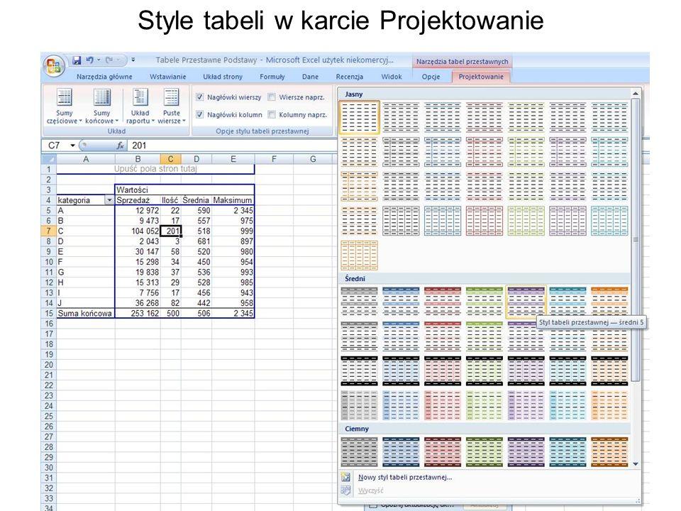 Style tabeli w karcie Projektowanie
