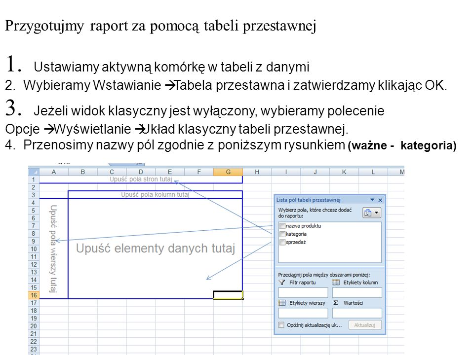 Przygotujmy raport za pomocą tabeli przestawnej 1.