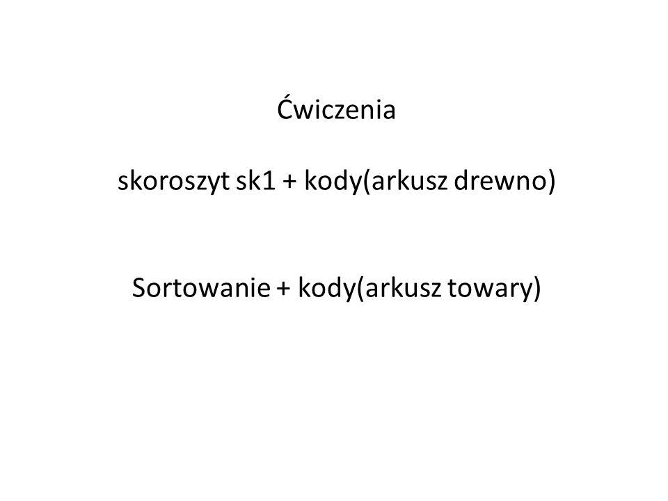 Ćwiczenia skoroszyt sk1 + kody(arkusz drewno) Sortowanie + kody(arkusz towary)