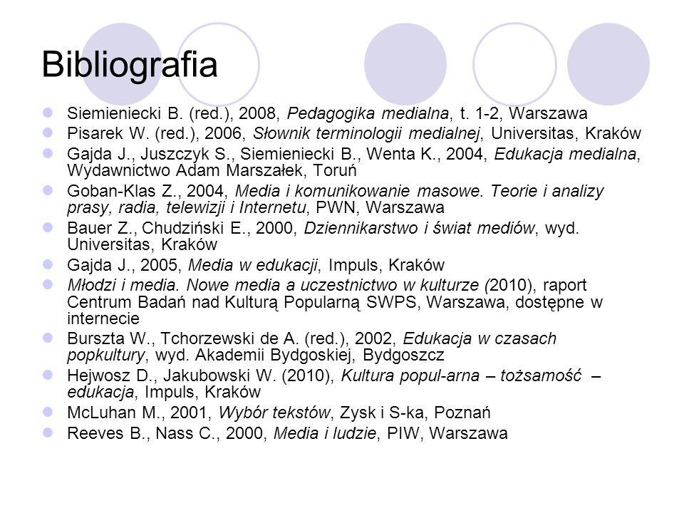 Bibliografia Siemieniecki B. (red.), 2008, Pedagogika medialna, t.