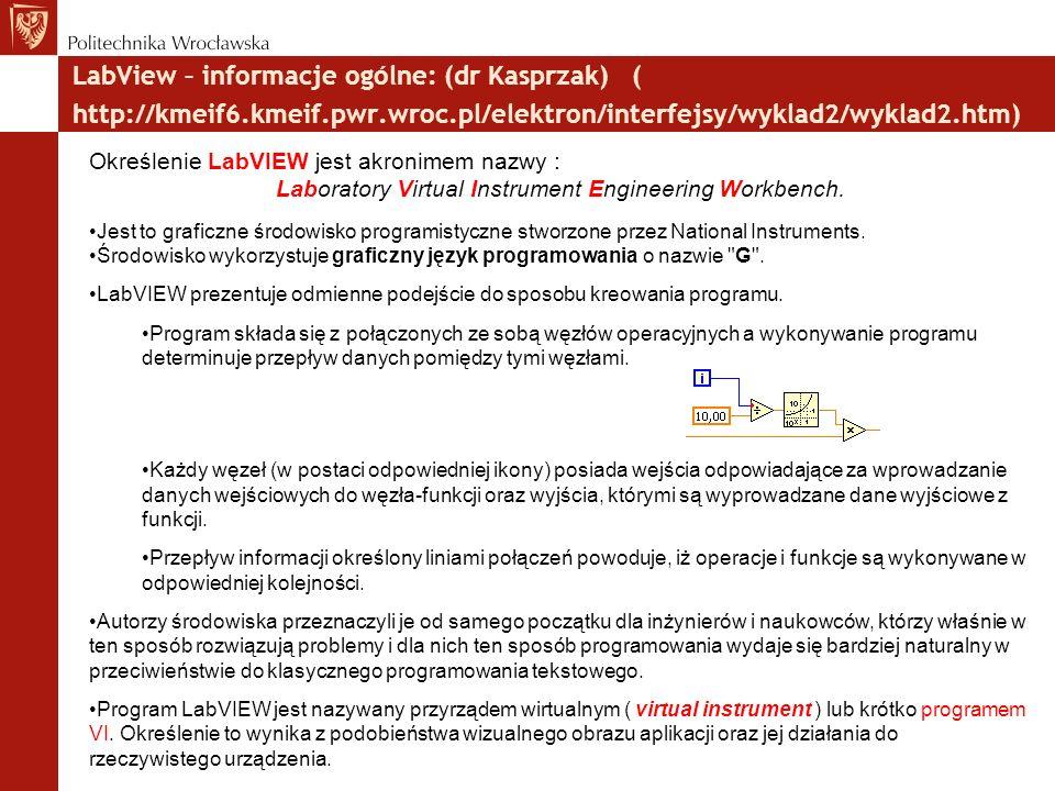 LabView – informacje ogólne: (dr Kasprzak) ( http://kmeif6.kmeif.pwr.wroc.pl/elektron/interfejsy/wyklad2/wyklad2.htm)  Określenie LabVIEW jest akronimem nazwy : Laboratory Virtual Instrument Engineering Workbench.