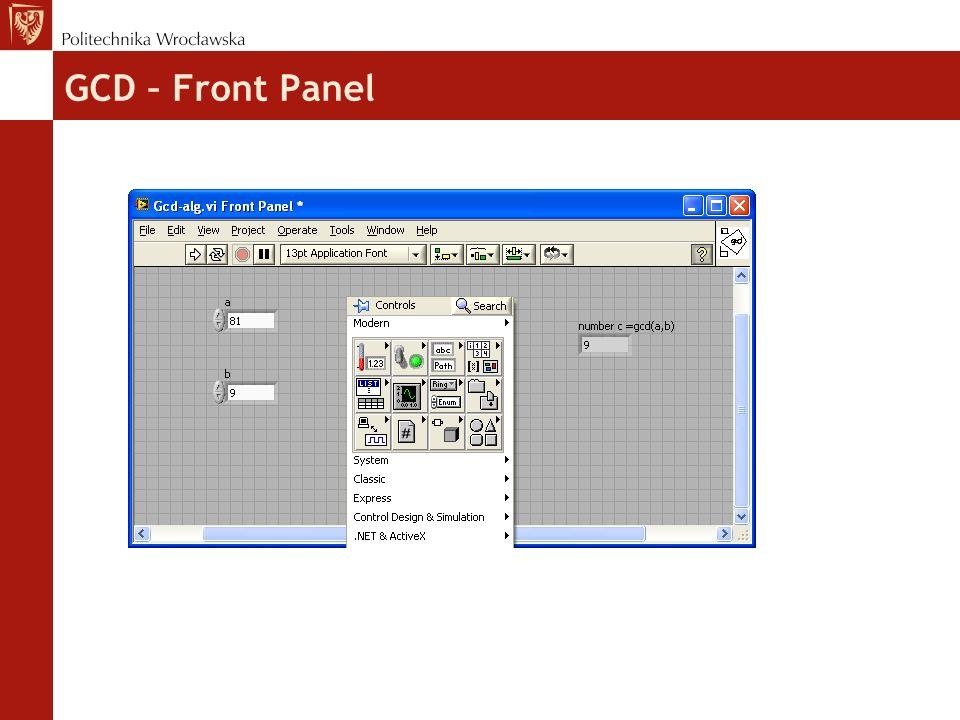 GCD – Front Panel