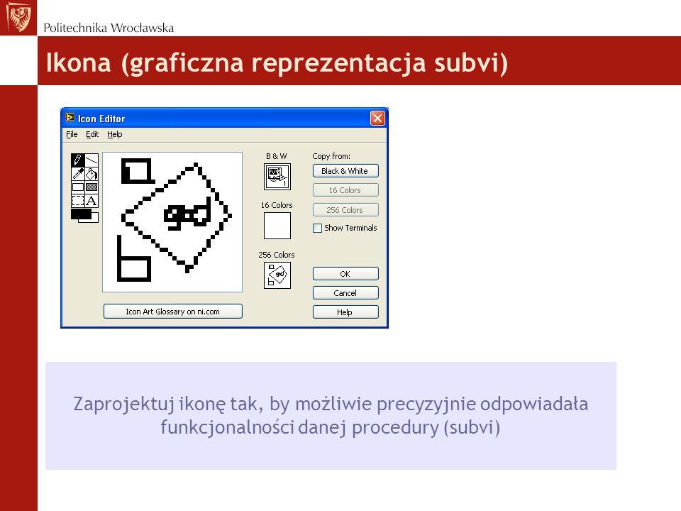 Ikona (graficzna reprezentacja subvi)  Zaprojektuj ikonę tak, by możliwie precyzyjnie odpowiadała funkcjonalności danej procedury (subvi)