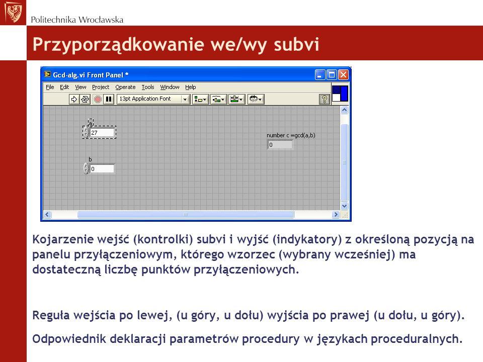 Przyporządkowanie we/wy subvi Kojarzenie wejść (kontrolki) subvi i wyjść (indykatory) z określoną pozycją na panelu przyłączeniowym, którego wzorzec (wybrany wcześniej) ma dostateczną liczbę punktów przyłączeniowych.