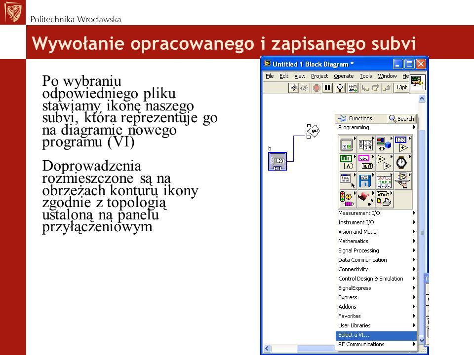 Wywołanie opracowanego i zapisanego subvi Po wybraniu odpowiedniego pliku stawiamy ikonę naszego subvi, która reprezentuje go na diagramie nowego programu (VI) Doprowadzenia rozmieszczone są na obrzeżach konturu ikony zgodnie z topologią ustaloną na panelu przyłączeniowym