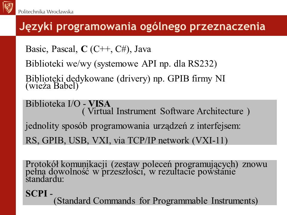 Języki programowania ogólnego przeznaczenia Basic, Pascal, C (C++, C#), Java Biblioteki we/wy (systemowe API np.