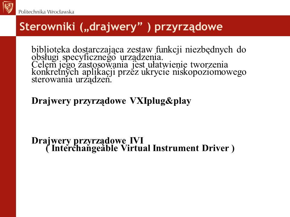 """Sterowniki (""""drajwery ) przyrządowe biblioteka dostarczająca zestaw funkcji niezbędnych do obsługi specyficznego urządzenia."""