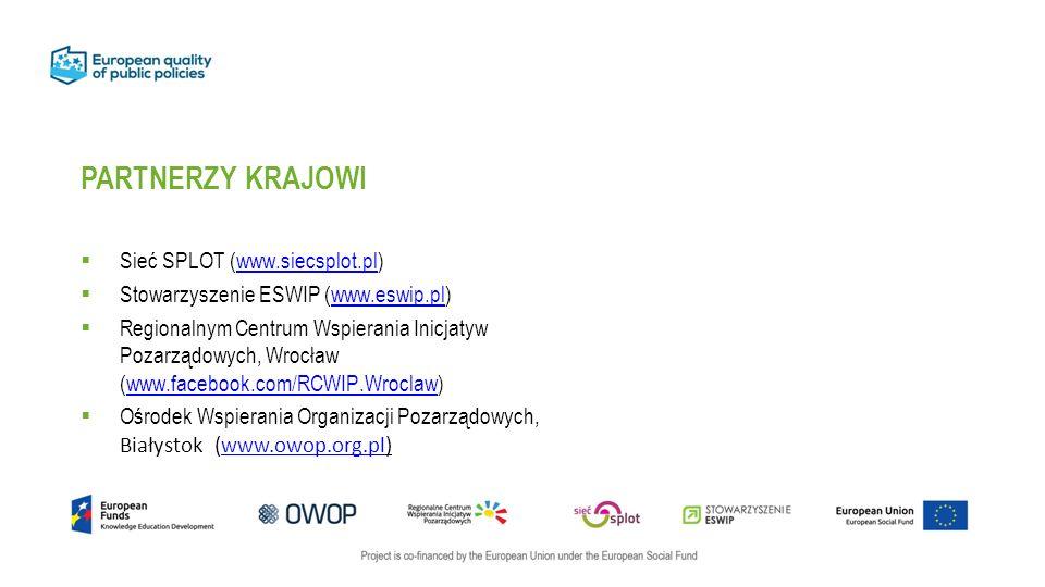 PARTNERZY KRAJOWI  Sieć SPLOT (www.siecsplot.pl)www.siecsplot.pl  Stowarzyszenie ESWIP (www.eswip.pl)www.eswip.pl  Regionalnym Centrum Wspierania Inicjatyw Pozarządowych, Wrocław (www.facebook.com/RCWIP.Wroclaw)www.facebook.com/RCWIP.Wroclaw  Ośrodek Wspierania Organizacji Pozarządowych, Białystok (www.owop.org.pl)www.owop.org.pl