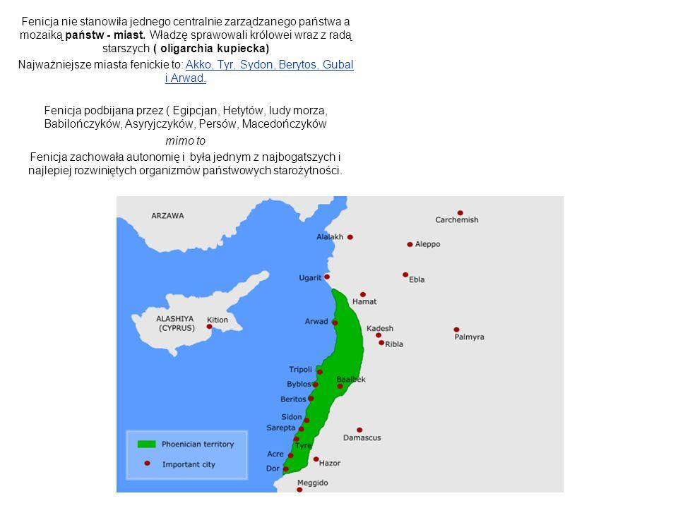 Fenicja nie stanowiła jednego centralnie zarządzanego państwa a mozaiką państw - miast.