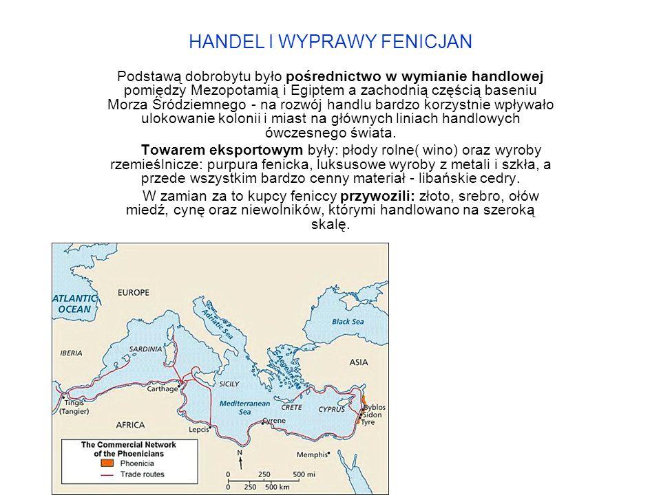 HANDEL I WYPRAWY FENICJAN Podstawą dobrobytu było pośrednictwo w wymianie handlowej pomiędzy Mezopotamią i Egiptem a zachodnią częścią baseniu Morza Śródziemnego - na rozwój handlu bardzo korzystnie wpływało ulokowanie kolonii i miast na głównych liniach handlowych ówczesnego świata.