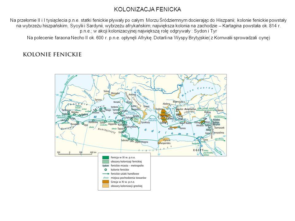 KOLONIZACJA FENICKA Na przełomie II i I tysiąclecia p.n.e.