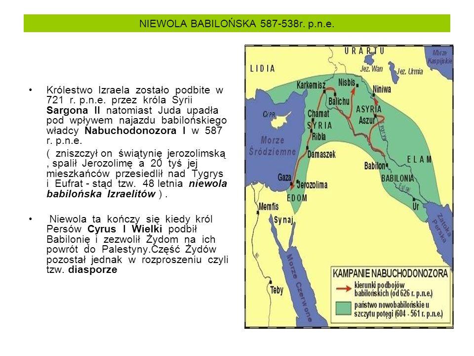 NIEWOLA BABILOŃSKA 587-538r. p.n.e. Królestwo Izraela zostało podbite w 721 r.