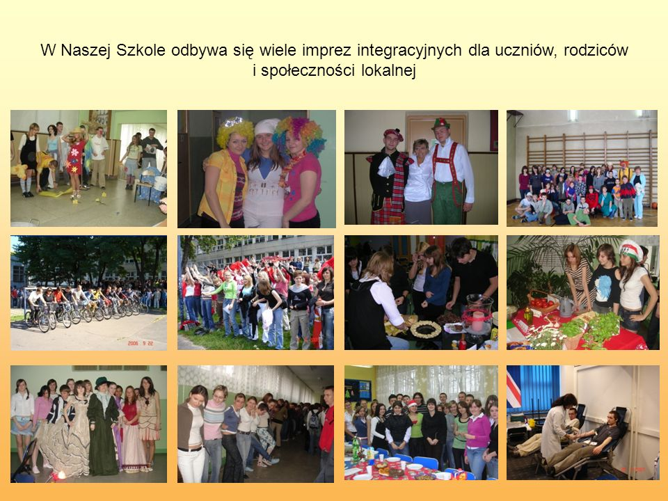 W Naszej Szkole odbywa się wiele imprez integracyjnych dla uczniów, rodziców i społeczności lokalnej