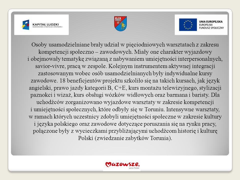 Osoby usamodzielniane brały udział w pięciodniowych warsztatach z zakresu kompetencji społeczno – zawodowych.