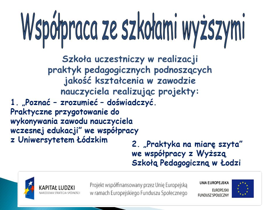 """Szkoła uczestniczy w realizacji praktyk pedagogicznych podnoszących jakość kształcenia w zawodzie nauczyciela realizując projekty: 1. """"Poznać – zrozum"""