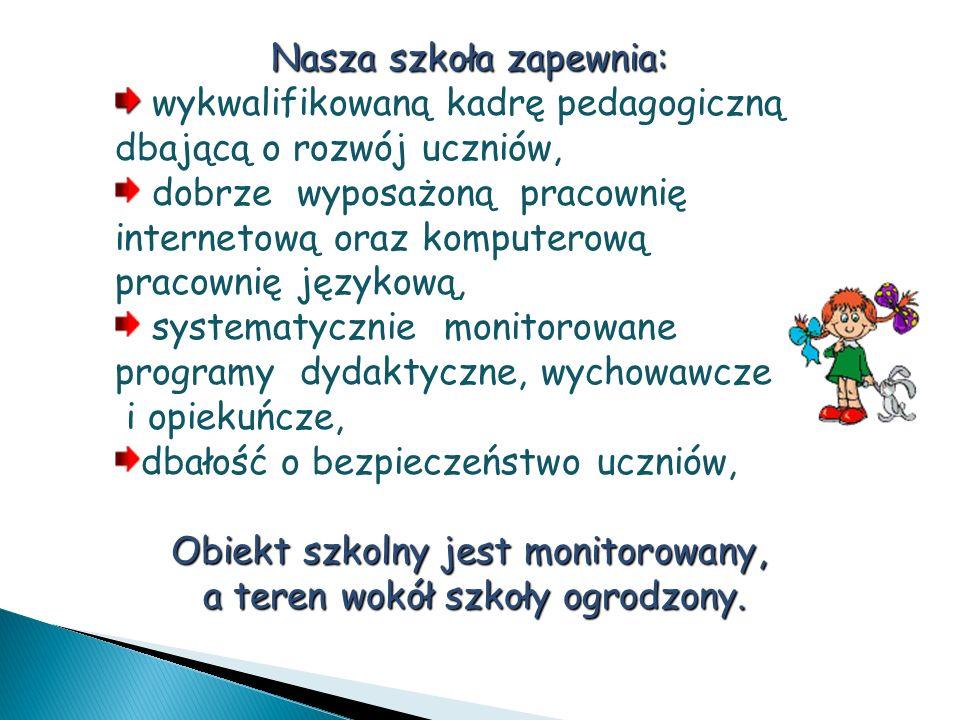 Nasza szkoła zapewnia: wykwalifikowaną kadrę pedagogiczną dbającą o rozwój uczniów, dobrze wyposażoną pracownię internetową oraz komputerową pracownię