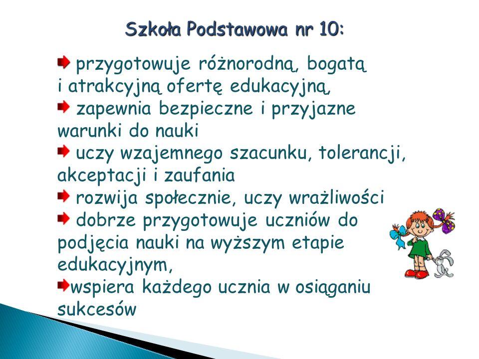 Szkoła Podstawowa nr 10: przygotowuje różnorodną, bogatą i atrakcyjną ofertę edukacyjną, zapewnia bezpieczne i przyjazne warunki do nauki uczy wzajemn