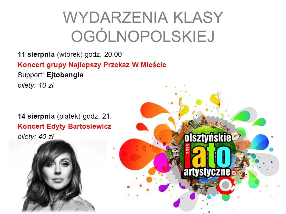 11 sierpnia (wtorek) godz. 20.00 Koncert grupy Najlepszy Przekaz W Mieście Support: Ejtobangla bilety: 10 zł 14 sierpnia (piątek) godz. 21.00 Koncert