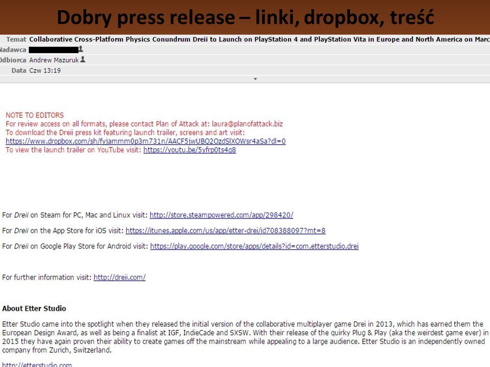 Dobry press release – linki, dropbox, treść