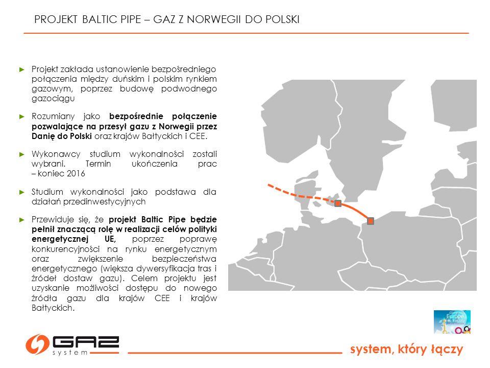 system, który łączy PROJEKT BALTIC PIPE – GAZ Z NORWEGII DO POLSKI ► Projekt zakłada ustanowienie bezpośredniego połączenia między duńskim i polskim r
