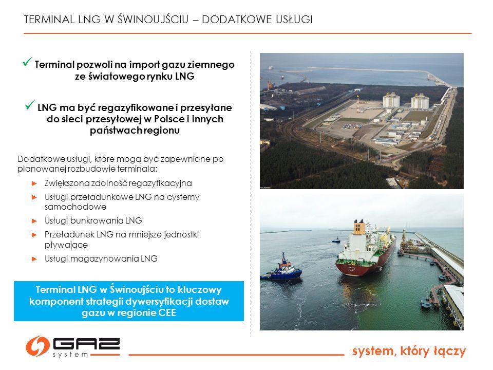 system, który łączy TERMINAL LNG W ŚWINOUJŚCIU – DODATKOWE USŁUGI Terminal pozwoli na import gazu ziemnego ze światowego rynku LNG LNG ma być regazyfi