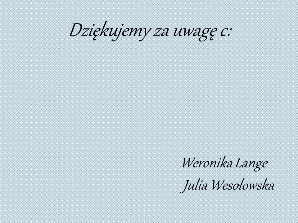 Dziękujemy za uwagę c: Weronika Lange Julia Wesołowska