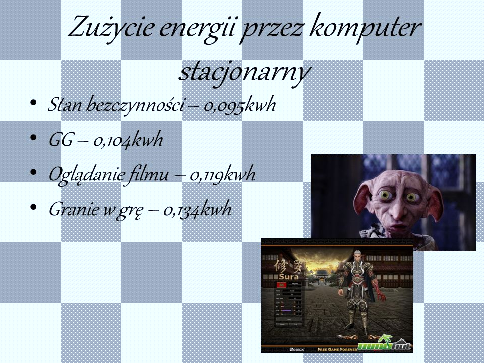 Zużycie energii przez komputer stacjonarny Stan bezczynności – 0,095kwh GG – 0,104kwh Oglądanie filmu – 0,119kwh Granie w grę – 0,134kwh