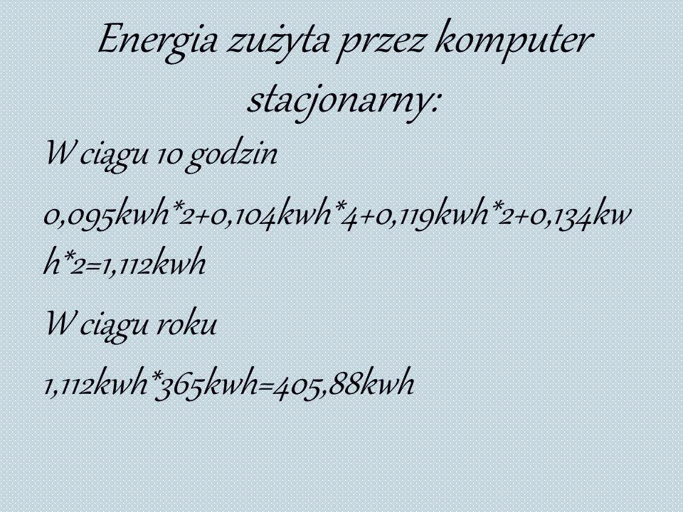 Energia zużyta przez komputer stacjonarny: W ciągu 10 godzin 0,095kwh*2+0,104kwh*4+0,119kwh*2+0,134kw h*2=1,112kwh W ciągu roku 1,112kwh*365kwh=405,88kwh