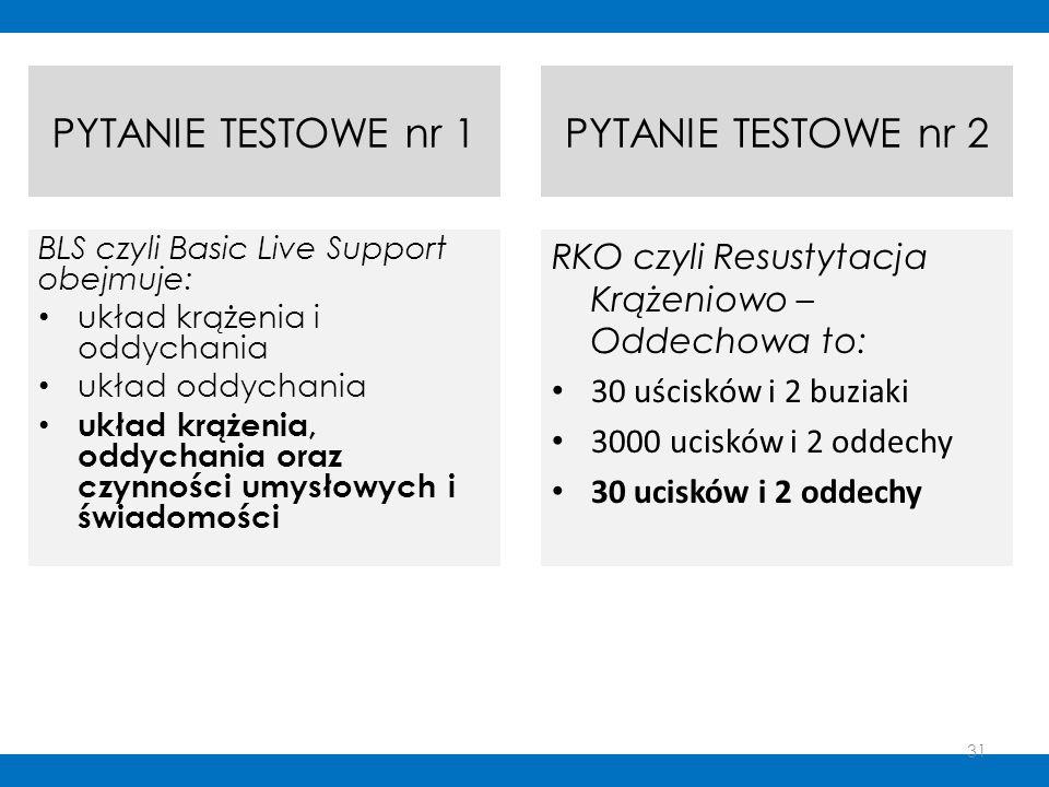 PYTANIE TESTOWE nr 1 BLS czyli Basic Live Support obejmuje: układ krążenia i oddychania układ oddychania układ krążenia, oddychania oraz czynności umy